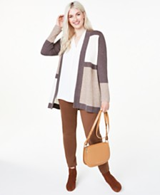 Charter Club Plus Size Colorblock Cashmere Cardigan, Created for Macy's