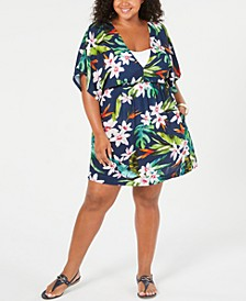 Plus Size Watercolor Tropical Printed Cover-Up Dress