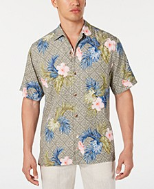 Men's Flora Breeze Geo Floral-Print Camp Collar Shirt