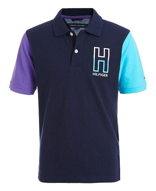 Tommy Hilfiger Little Boys Kevin Stretch Colorblocked Logo-Print Piqué Polo Shirt