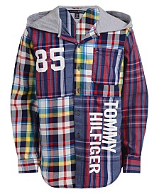 Tommy Hilfiger Big Boys Lucias Patchwork Plaid Logo-Print Hooded Shirt
