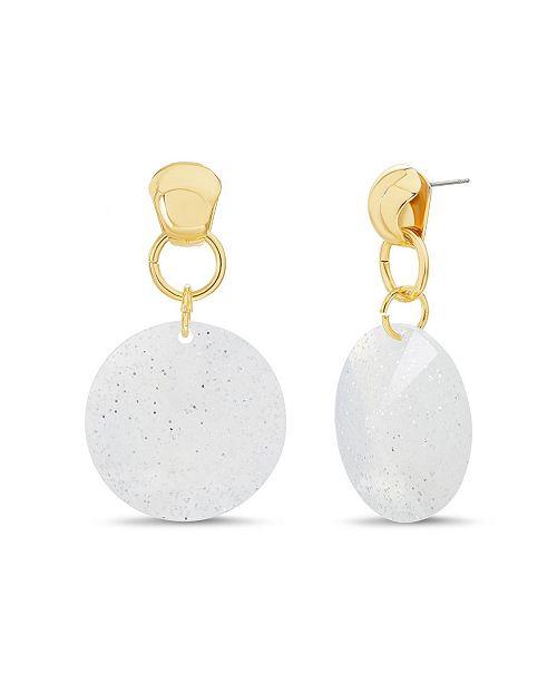 Catherine Malandrino Women's White Glitter Disc Drop Earrings