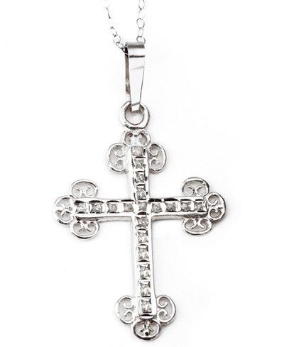14k White Gold Necklace, Diamond Accent Cross Pendant