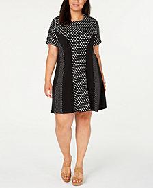 Michael Michael Kors Plus Size Mixed-Print Swing Dress