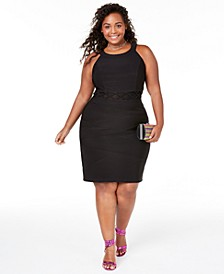 Trendy Plus Size Illusion-Waist Bodycon Dress