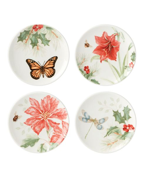 Lenox Butterfly Meadow Holiday Set of 4 Coasters, Created for Macy's