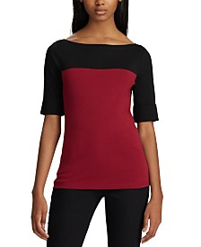 Lauren Ralph Lauren Petite Coloblock Boat-Neck Top