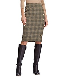 Lauren Ralph Lauren Petite Glen Plaid-Print Button-Trim Skirt