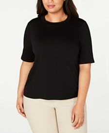 Eileen Fisher Plus Size Round-Neck Top