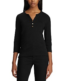 Lauren Ralph Lauren Petite Stretch Henley T-Shirt