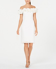Calvin Klein Off-The-Shoulder Ruffle Sheath Dress