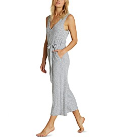 Juniors' Belted Knit Jumpsuit