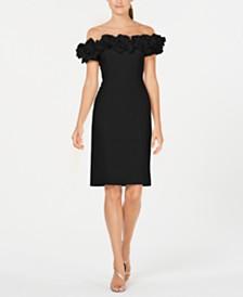 Calvin Klein Off-The-Shoulder Ruffle Sheath Dress