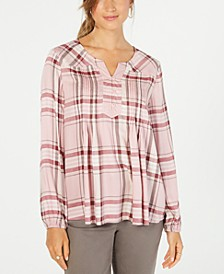 Petite Plaid Pleated Top, Created for Macy's