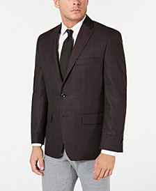 Men's Classic-Fit Burgundy Windowpane Sport Coat