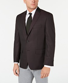 Michael Kors Men's Classic-Fit Burgundy Windowpane Sport Coat