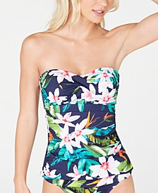 Watercolor Tropical Print Tummy-Control Twist-Front Tankini Top