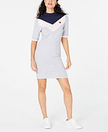 Mock Neck Bodycon Logo Dress