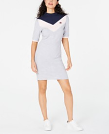 Tommy Hilfiger Mock Neck Bodycon Logo Dress