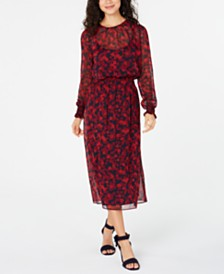 Tommy Hilfiger Long Sleeve Floral Dress, Created for Macy's