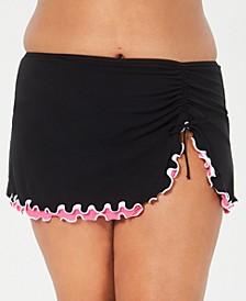 Plus Size Tutti Frutti Side-Slit Swim Skirt