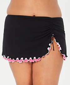 Profile by Gottex Plus Size Tutti Frutti Side-Slit Swim Skirt