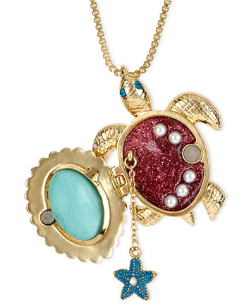 Betsey johnson gold tone glass pearl crystal turtle pendant gold tone glass pearl crystal turtle pendant mozeypictures Images
