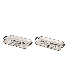 Glitzhome Farmhouse Metal Enamel Serving Tray, Set of 2