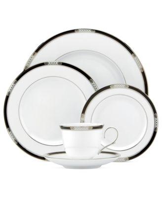 Dinnerware, Hancock Platinum White 5 Piece Place Setting