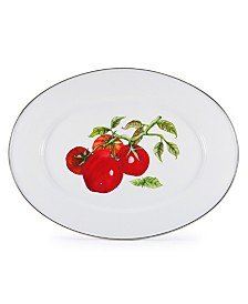 """Golden Rabbit Tomatoes Enamelware Collection 16"""" x 12"""" Oval Platter"""