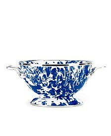 Golden Rabbit Cobalt Swirl Enamelware Collection 1 Quart Colander