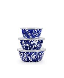 Golden Rabbit Cobalt Swirl Enamelware Collection Nesting Bowls, Set of 3
