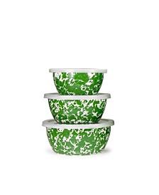 Golden Rabbit Green Swirl Enamelware Collection Nesting Bowls, Set of 3
