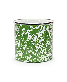 Golden Rabbit Green Swirl Enamelware Collection Utensil Holder