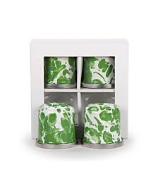 Golden Rabbit Green Swirl Enamelware Collection Salt and Pepper Shakers, Set of 2, Set of 2