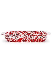 Red Swirl Enamelware Collection 3 Quart Baking Pan