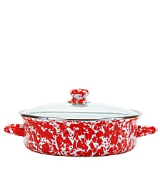 Red Swirl Enamelware Collection 5 Quart Saute Pan