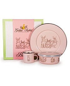 Pink Bunnies Enamelware Collection 3 Piece Kids Dinner Set