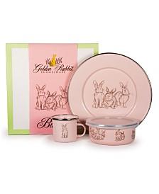 Golden Rabbit Pink Bunnies Enamelware Collection 3 Piece Kids Dinner Set