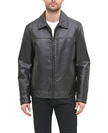 Men's Faux Leather Laydown Collar Jacket