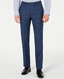 Men's Modern-Fit Stretch Blue Plaid Suit Pants