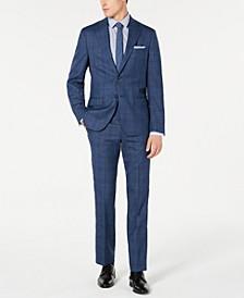 Men's Modern-Fit Stretch Blue Plaid Suit Separates