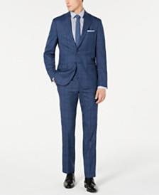 DKNY Men's Modern-Fit Stretch Blue Plaid Suit Separates