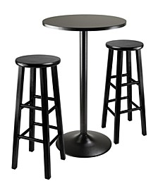 "3-Piece Round Black Pub Table with Two 29"" Wood Stool Square Legs"