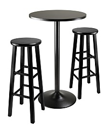 """Winsome Wood 3-Piece Round Black Pub Table with Two 29"""" Wood Stool Square Legs"""