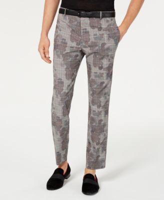 INC Men's Slim-Fit Glen Plaid Camo Pants, Created for Macy's