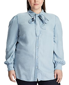Lauren Ralph Lauren Plus Size Tie-Neck Chambray Shirt