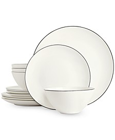 Black Line 12-Pc. Dinnerware Set, Service for 4, Created for Macy's