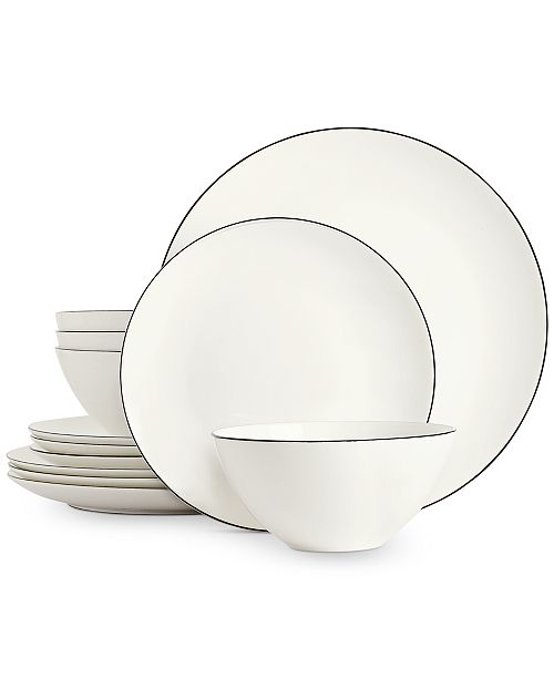 Hotel Collection Black Line 12-Pc. Dinnerware Set, Service for 4, Created for Macy's