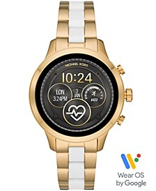 Access Women's Runway Gold-Tone Stainless Steel & White Silicone Bracelet Touchscreen Smart Watch 41mm, Powered by Wear OS by Google™